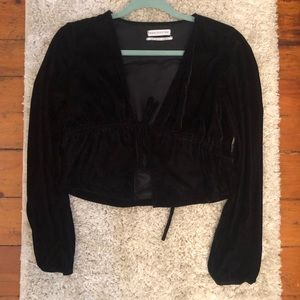 Cropped velvet urban outfitters top